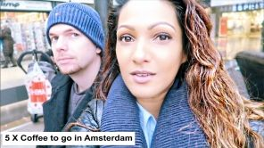 5 X Coffee to go in Amsterdam, Anna Radha Ghiraw, Starbucks, Coffee Concepts, Coffee Company, Bakery cafe, Albert heijn, Bagels and Beans